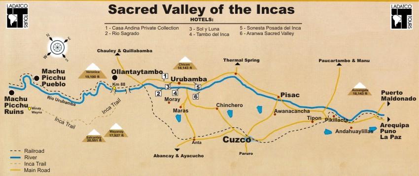 CuzcoUrubamba Valley Map